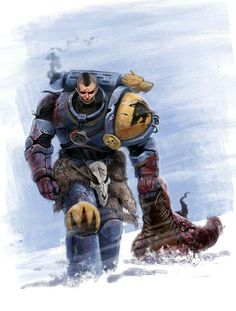 """The Space Wolves, known in their own dialect of Juvjk as the Vlyka Fenryka or """"Wolves of Fenris,"""" are one of the original 20 First Founding Space Marine Legions, and were once led by their famed Primarch, Leman Russ. Warhammer 40k Space Wolves, Warhammer 40k Art, Warhammer 40k Miniatures, Warhammer Fantasy, Space Marine, Wolf Artwork, Marvel, Dc Comics, Angel Of Death"""