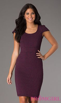 Knee Length Scoop Neck Dress at PromGirl.com