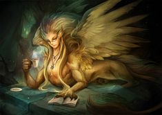 e621 beverage blonde_hair book bookmark claws coffee_mug eye_of_ra eyewear feathered_wings feathers female feral food glasses green_eyes hair jewelry lying necklace pawpads paws pointy_ears reading relaxing sandara solo sphinx tea wings yellow_body