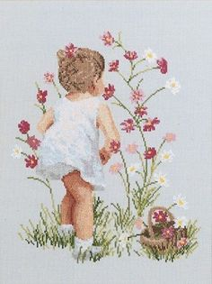 Janlynn - Girl with Cosmos Counted Cross Stitch Kit # 029-0018