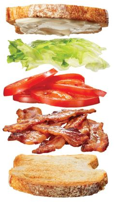 Yes, that's right: BLT—as in bacon, lettuce, and tomato sandwiches. It only happens once a year, when colorful peak-season tomatoes are abundant and piles of frilly lettuce can be purchased from the farmer's market for a song. Snack To Go, Great Recipes, Favorite Recipes, Wrap Sandwiches, Snacks, Love Food, The Best, Food Porn, Food And Drink