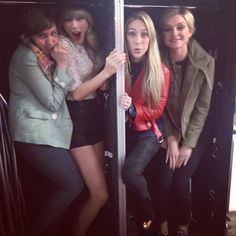 """Girls in the box xoxo"" - Lena Dunham, Taylor Swift, Ashley Avignone, and Jessica Stam."