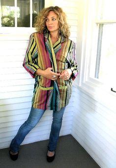 VINTAGE JACKET boxy blazer cosby style  woven cotton by zasra, $35.00   from my shop...