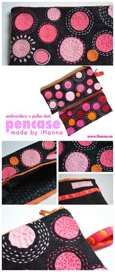 Isn't polka dots the best pattern ever? I use it my art all the time. How about embroidered polka dots - on these wool pencil cases for example? Love!