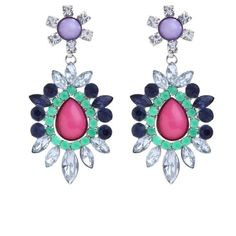 Turquoise and Pink Gem Drop Earrings ($12) ❤ liked on Polyvore
