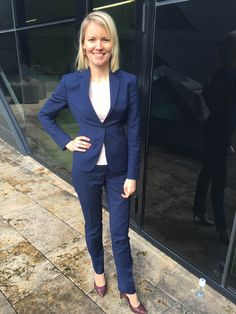 Some Mondays might be blue but other Mondays could be royal blue - like this bespoke London suit that Katrin Kiviselg is rocking!