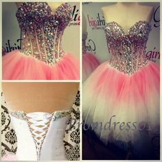 prom dress 2015, beaded cute coral organza mini sweetheart strapless prom dress for teens, ball gown, evening dress, homecoming dress,party dress #promdress