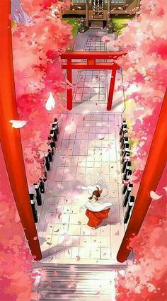 sakura;shrine;wallpaper;psychic