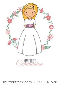 my first communion girl. beautiful girl with communion dress and flower frame Illustration , Girls Communion Dresses, Spain Images, Love Craft, First Communion, Flower Frame, Flower Dresses, Christening, Special Day, Scrapbook Paper