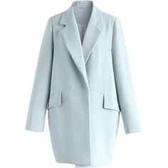 Chicwish A Chic Start Blazer in Baby Blue (€42) ❤ liked on Polyvore featuring outerwear, jackets, blazers, blue, blazer jacket, baby blue jacket, blue blazer jacket, blue jackets and blue blazers