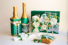 """Купить Свадебные аксессуары """"Изумруд и золото"""" - свадебные аксессуары, свадебное украшение, свадебные бокалы"""
