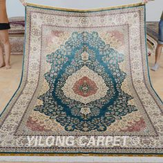 Yilong 6'x9'  hand knotted turkish silk carpets blue traditional handmade pakistani rugs (1126)