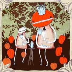 Tea with the Pumpkin King  PRINT by emmaklingbeil on Etsy, $12.00