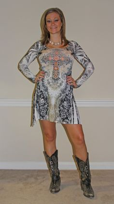 Long Sleeve Sublimation w/ Rhinestones & Partial Lace Back Dress! $45.00 #countryflare  http://countryflaredesigns.mybigcommerce.com/long-sleeve-sublimation-w-rhinestones-partial-lace-back/