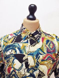 Vintage 1990s Geometric Hip Hop Jazz Bebop Crazy Print Pattern Shirt XL