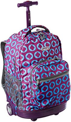 J World Lollipop Candy Buttons Kids Rolling Backpack with Lunch ...