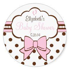 Pink and Brown Polka Dots-Baby Shower Round Sticker