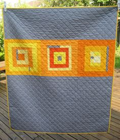 modern quilts   Modern Quilt in Orange Yellow and Gray by DeuxPetitesSouris