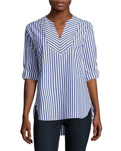 Ivanka Trump | Blue Striped Hi-lo Tunic