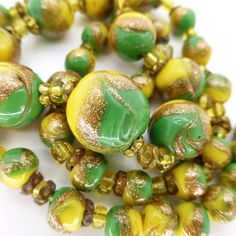 Vintage Edwardian Venetian Fancy Aventurine Feathered Glass Bead Necklace | eBay