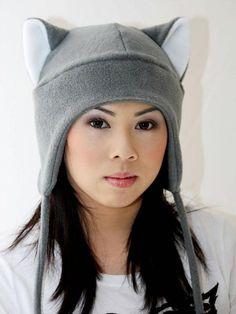 Grey Cat - Cat Ears - Cat Ear Hat - Gray Winter Cat Hat - Snowboarding Hat  - Ski Hat - Aviator Cat H 4b64be7fe5e