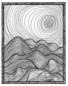 The line work in this creates motion as well as contrast between the foreground and background. The size of the waves and thickness of the lines also creates the illusion of depth.  https://i.pinimg.com/originals/ac/53/4b/ac534b770d88b55b07c4df76393bbcda.jpg