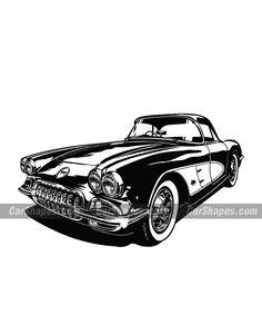 Chevrolet Corvette, Chevy, Car Vector, Vector Illustrations, Laser Engraving, Art, Cars, Art Background, Kunst