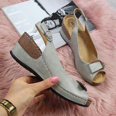 Plain High Heeled Peep Toe Date Travel Wedge Sandals Moderne Lofts, Wedge Sandals, Shoes Sandals, Women Sandals, Leather Sandals, Peep Toe, Trendy Sandals, Comfy Shoes, Fashion Shoes