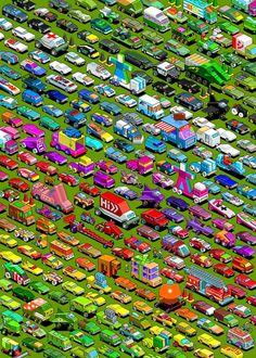 Micromachines Carpark. #pixelart #pixel #micromachines