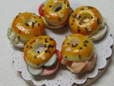 Artisan dollhouse dolls house food seeded bagels by Dollshousefood
