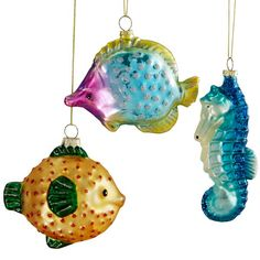 Tropical Fish 3-pc Art Glass Ornament Set By Lenox