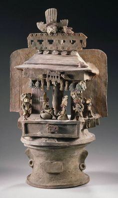 Middle Classic, Teotihuacan style Two-part incensario in architectural model, A.D. 400–600 Ceramic with traces of pigment top: h. 55.0 cm., diam. 29.0 cm. (21 5/8 x 11 7/16 in.) base: h. 17.0 cm., diam. 28.5 cm. (6 11/16 x 11 1/4 in.) Place made: Maya area, Esquintla, Guatemala