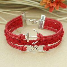 Anchor bracelet  red infinity bracelet with anchor by mosnos, $7.99