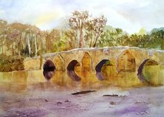 """Paint Along with Larry Hamilton Watercolor - """"River and Bridge from Wales"""""""
