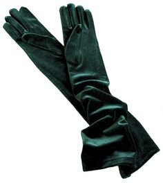 Dents Long Velvet Gloves - Elegant long dress gloves in beautifully soft velvet - real quality, real vintage style. In black, forest green (shown here), peony, chocolate, slate grey and olive.
