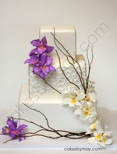 Orchids and Twigs Wedding Cake by Cakes by Maylene