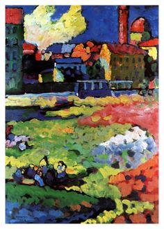 Wassily Kandinsky - Munich-Schwabing with the Church of St. Ursula - Wassily Kandinsky - Wikipedia, the free encyclopedia Art Kandinsky, Wassily Kandinsky Paintings, Drawn Art, Inspiration Art, Art Abstrait, Russian Art, Henri Matisse, Art Plastique, Oeuvre D'art