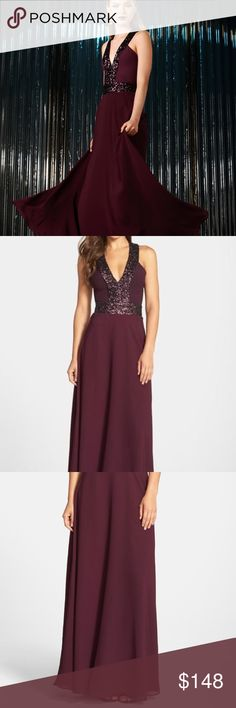 Racerback Sequin, Crepe, and Chiffon Gown Gorgeous gown, perfect for prom, weddings, bridesmaids, or any special event or formal occasion. Beautiful wine color perfect for all seasons. Sequins emphasize waist and shoulder. Crepe skirt with chiffon overlay floats as you walk. Zipper back. Runs small. (Black dress shown to illustrate back). Brand you and can be yours in a few days! Dress the Population Dresses Prom