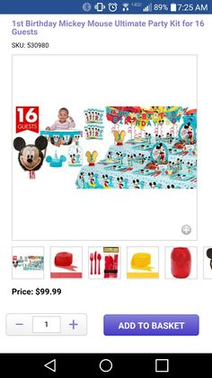 1st birthday party mickey mouse set
