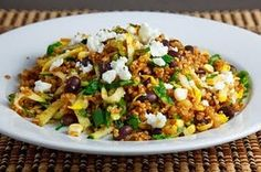 Zucchini and Corn Taco Seasoned Quinoa Salad (makes 2 light meal sized servings or 4 side dish sized servings) Printable Recipe  Ingredients: 1 cup quinoa 2 cups water 1 batch taco seasoning 1 ear corn (grilled and kernels cut from cob) 1 cup zucchini (grated) 1 cup black beans 1 jalapeno (sliced) 1 green onion (sliced) 1/4 cup cilantro (chopped) 1 tablespoon oil 1 lime (juice) salt and pepper to taste 1/4 cup cotija (crumbled)  Directions: 1. Simmer the quinoa in the water along with the…