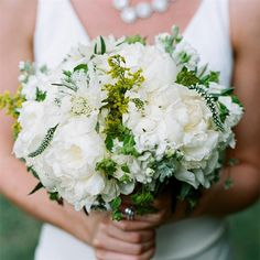 Lush Green and White Bridal Bouquet