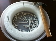 Hammering Practice...great for fine motor skills and hand-eye coordination.                                                                                                                                                                                 More