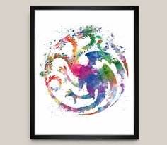 Game Of Thrones Poster, House Targaryen, Game of Thrones Watercolor Print Movie Poster, Game of Thrones Art Print illustration, Home Decor by artsaren on Etsy https://www.etsy.com/listing/291779541/game-of-thrones-poster-house-targaryen