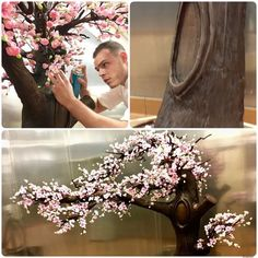 Life Size Chocolate And Sugar Cherry Blossom Tree Sneak Pick Of A New Project Only At Jeanphilippepa Chocolate Sculptures Chocolate Showpiece Chocolate Tree