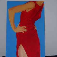 Girl in red dress. Oil and acrylic on canvas. Shoulder Dress, Paintings, Oil, Formal Dresses, Canvas, Fashion, Dresses For Formal, Tela, Moda