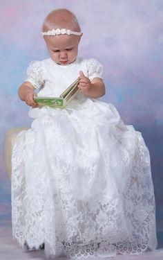 ALEXA Christening Gown ,  Lace Baptism Gown, Baptism dress light ivory, Christening set