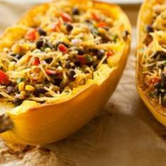 Create a Mexican fiesta from spaghetti squash by stuffing it with sweet corn, black beans and spicy chiles. Recipe from Whole Foods (add chicken)