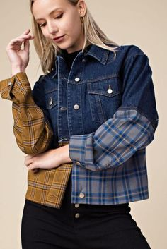 Babe we're totally checking you out And this gorgeous Checkin You Out Denim and Plaid Trucker Jacket might just totally be why This modern take on the classic denim jacket pairs a slightly oversized silhouette with bold detailing for a head - # Denim Pullover, Cropped Denim Jacket, Denim Jackets, Girls Denim Jacket, Dark Denim Jacket, Ropa Upcycling, Denim Fashion, Fashion Outfits, Modest Fashion
