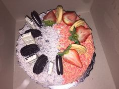Half strawberry shortcake half cookies and cream cake