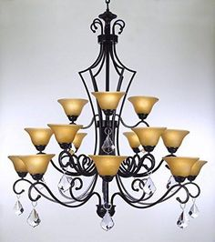 """Swarovski Crystal Trimmed Chandelier Wrought Iron Chandelier With Crystal H51"""" X W49"""" - Perfect For An Entryway Or Foyer - A84-Crystal/451/15Sw"""